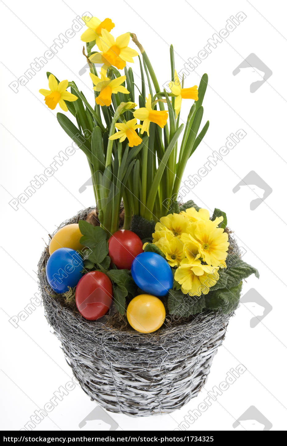 easter, eggs, with, spring, flowers - 1734325