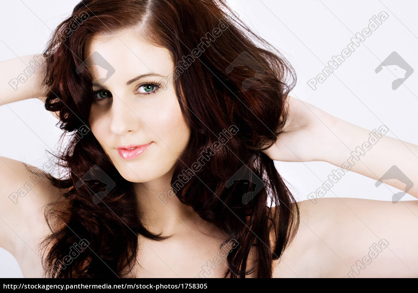 attractive, brunette, with, messy, hair, smiling - 1758305