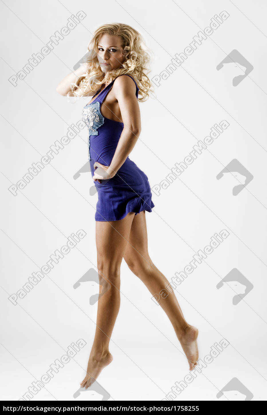 young, female, in, short, blue, dress - 1758255