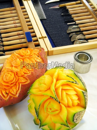sweet potato and melon carving