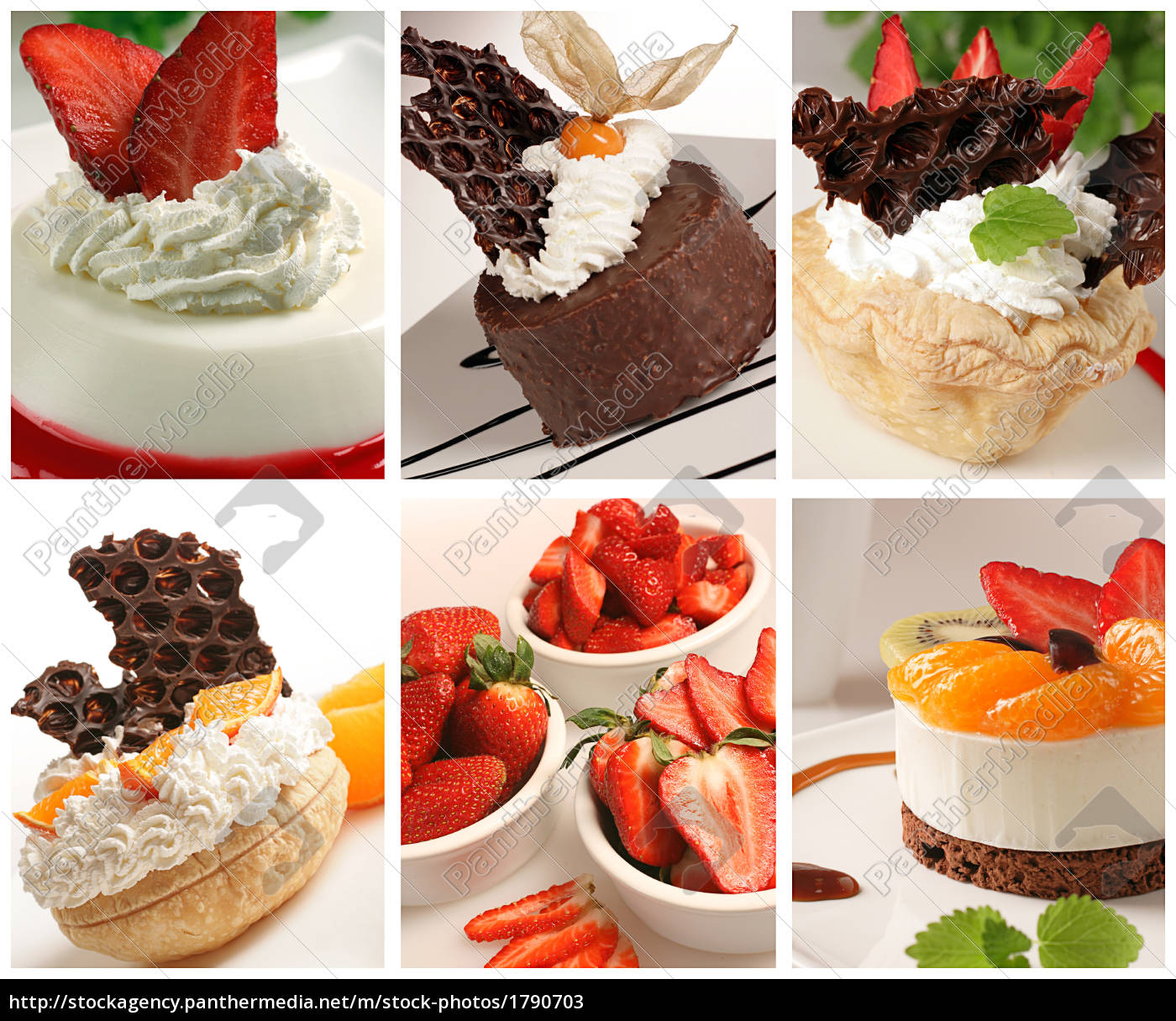 beautiful, dessert, collage, made, from, six - 1790703
