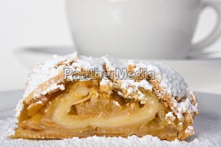 apple strudel with icing sugar