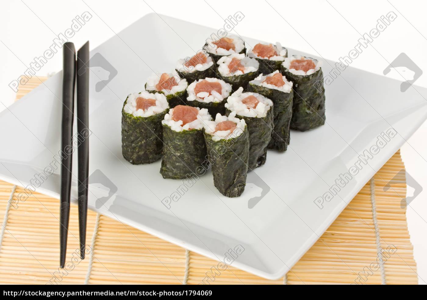 tuna, sushi, with, chopsticks - 1794069