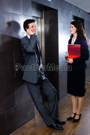 businesspeople at lobby