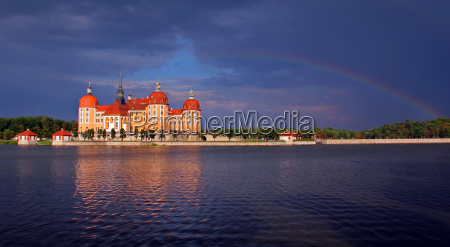 moritzburg castle under the rainbow