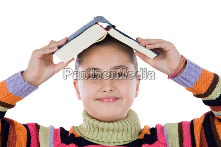 adorable girl with a book on