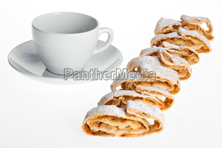 cup and apple strudel