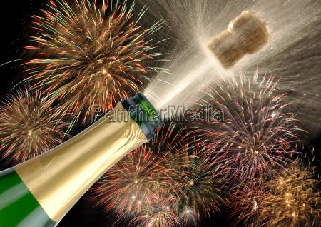 fireworks new years champagne corks celebration