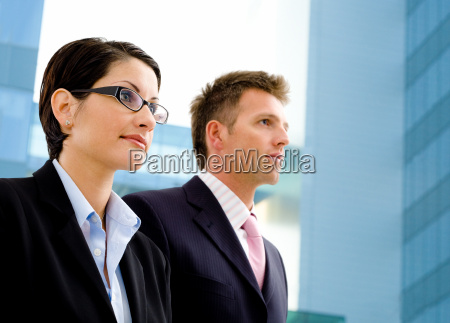 business people and officebuilding