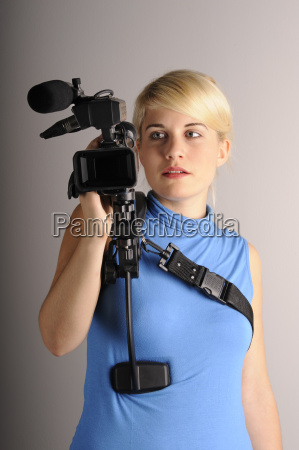 young woman videocamera