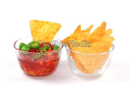 tortilla chips with hot peppers