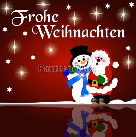 christmas greeting snowman and nicholas