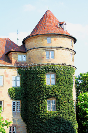 tower stuttgart pointed roof ivy chateau