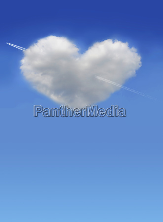 heart from clouds in blue sky