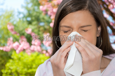 woman allergy handkerchief