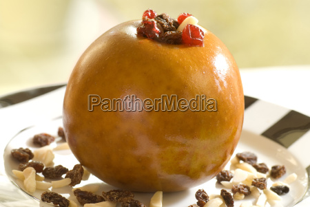 baked apple filled with donated almonds