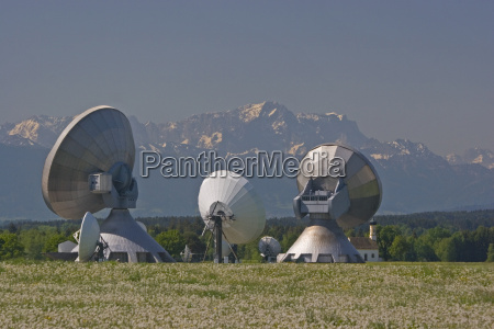 raisting earth station with zugspitze