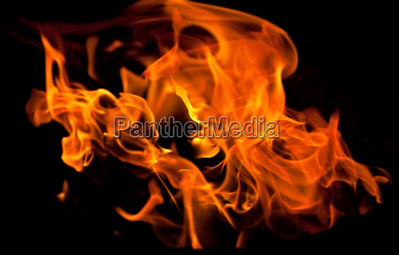 flames from the fire in the