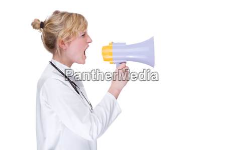 young female doctor with megaphone