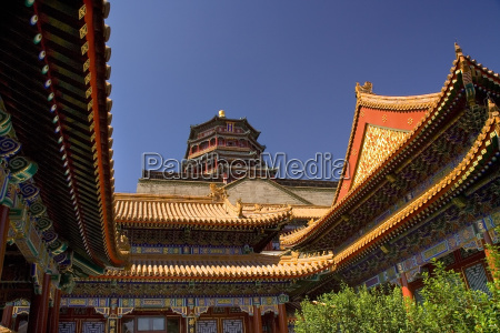 summer palace clear blue sky beijing