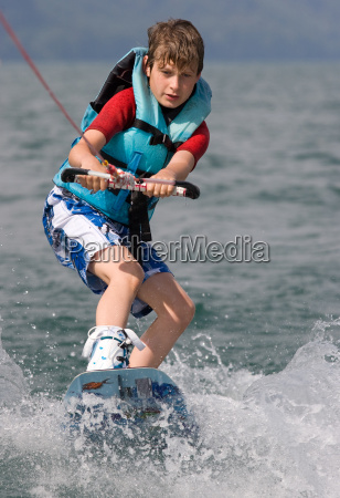 child on wakeboard
