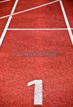 closeup of running track lanes