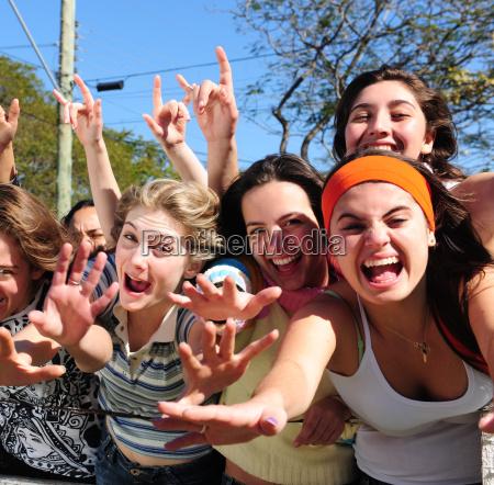 happy spectators and fans