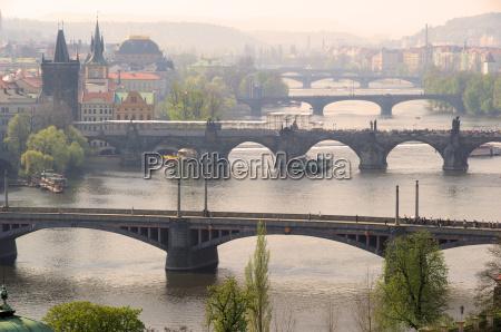 prague bridges from above prague