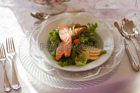 salmon with salad as a starter
