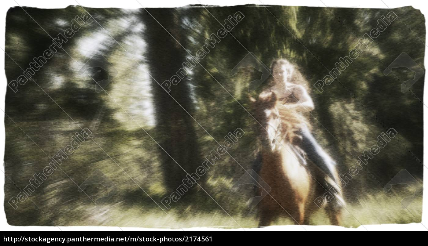 Woman Riding Horseback Stock Photo 2174561 Panthermedia Stock Agency