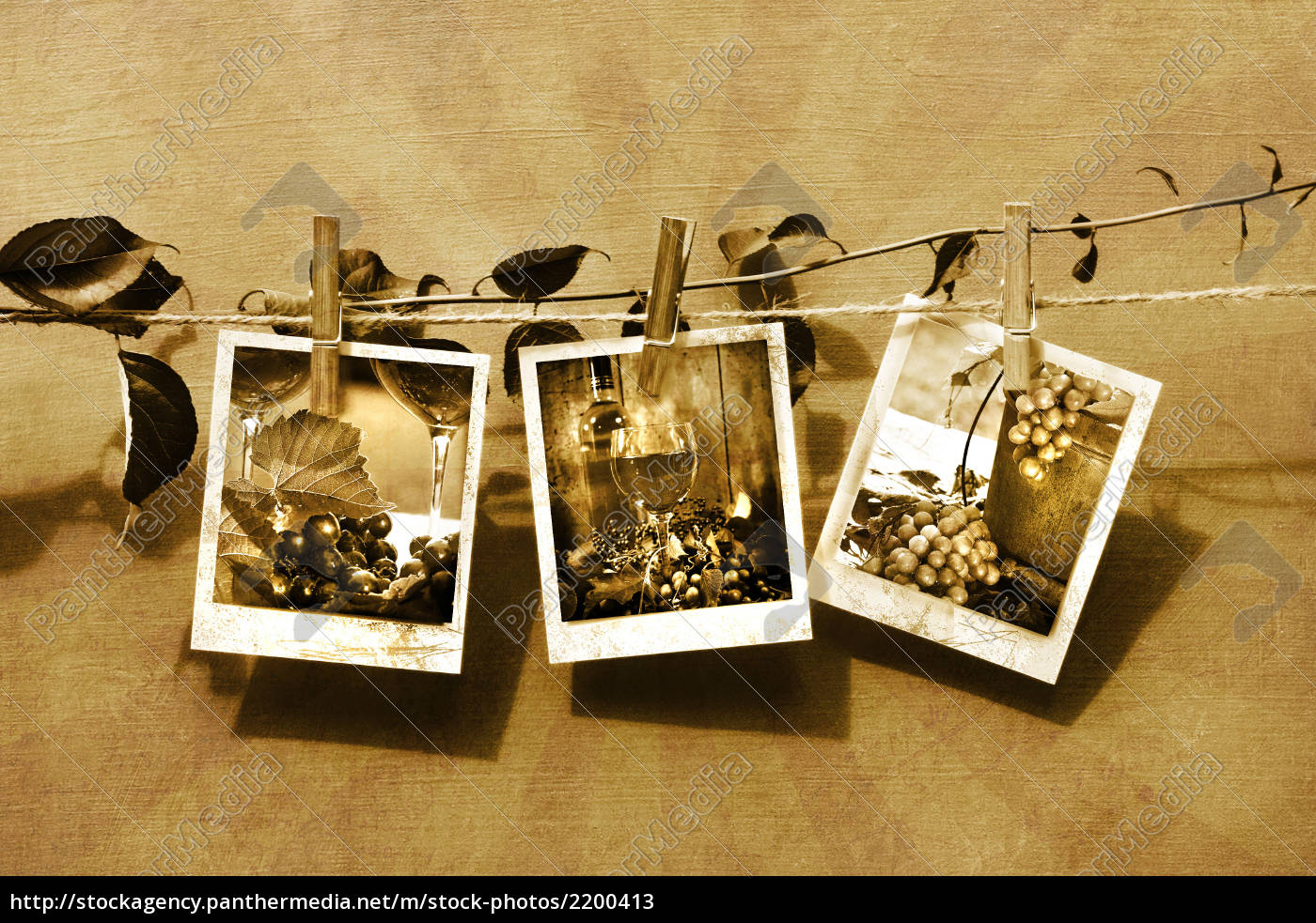pictures, pinned, on, clothesline/, sepia, tone - 2200413