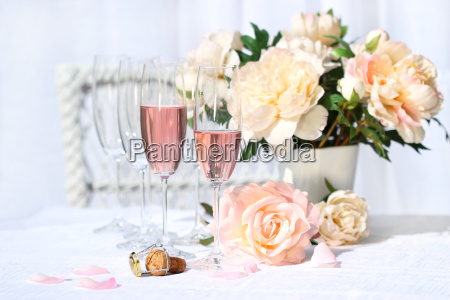 two, glasses, filled, with, pink, champagne - 2201027