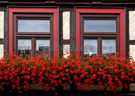 half timbered house flower boxes at