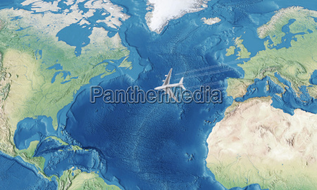white civil airplane over the atlantic