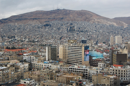 aerial shot of damascus syria