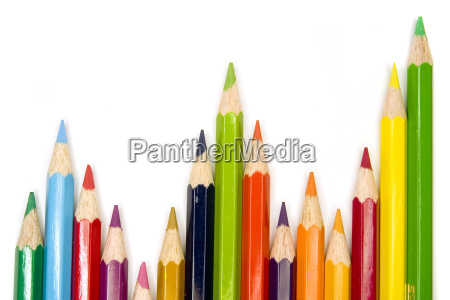stock photograph of brightly colored pencils