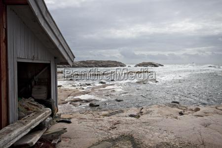 hut on the beach on a