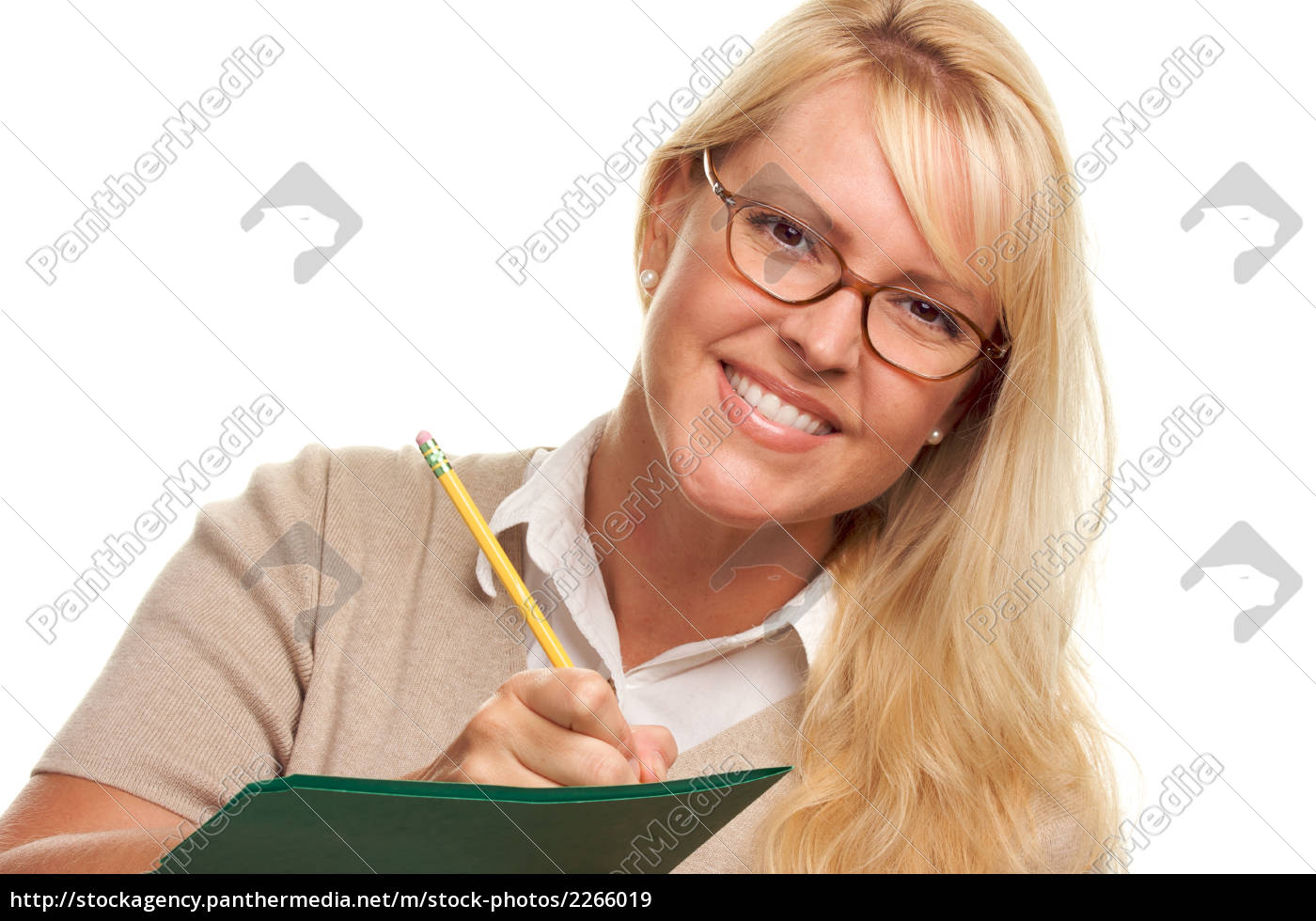 beautiful, woman, with, pencil, and, folder - 2266019