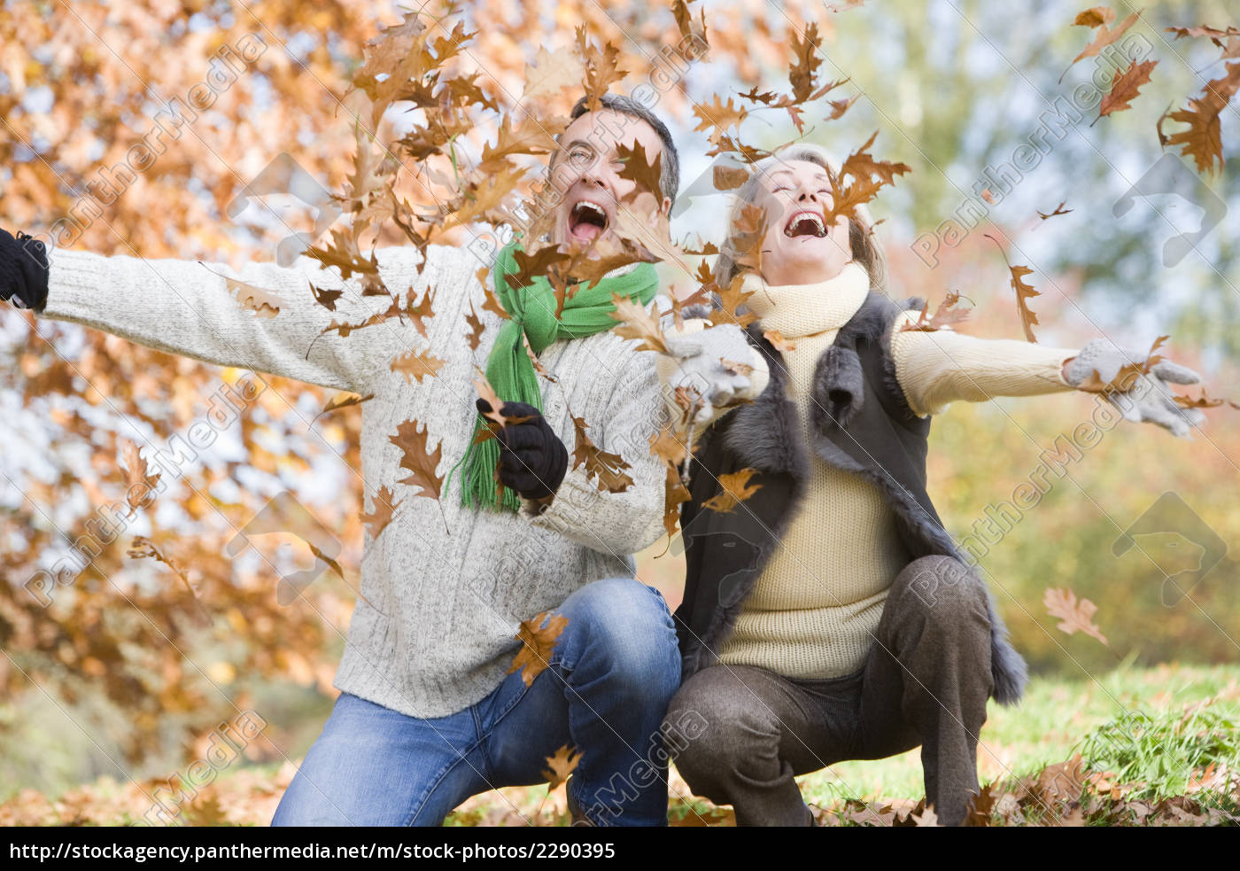 couple, outdoors, playing, in, leaves, and - 2290395