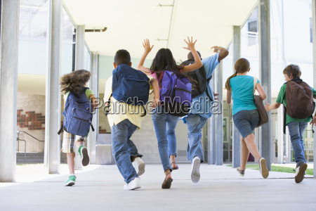 six students running to front door