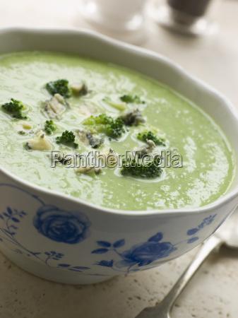 bowl of broccoli and stilton soup