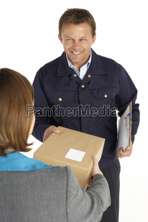 courier handing over a parcel to
