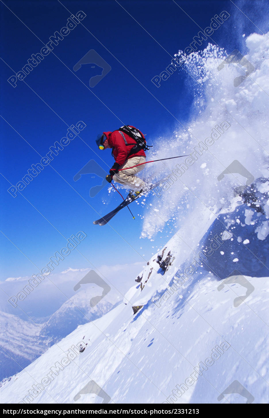 skier, jumping, on, snowy, hill - 2331213