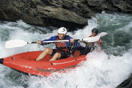 two, kayakers, in, rapids, smiling, (selective - 2331089