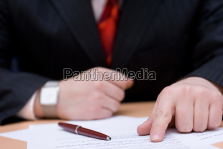 businessman reading the terms