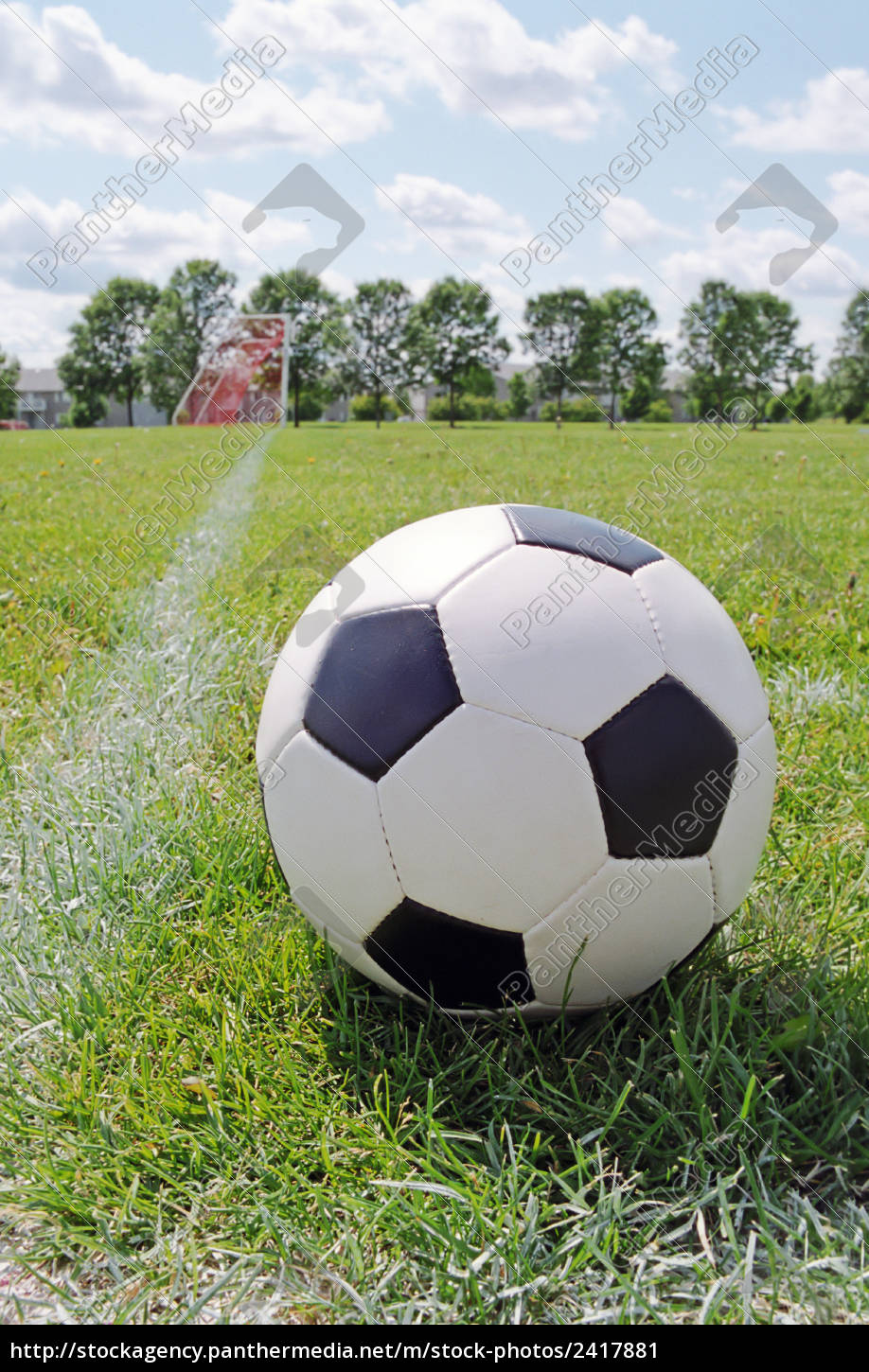 552a7974a Soccer ball on the pitch field with goal in background - Stock Photo ...