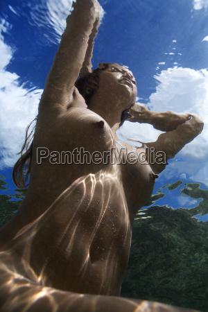 nude woman underwater