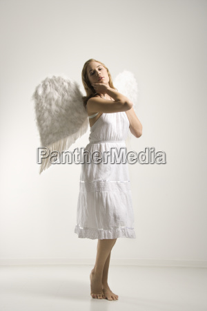 woman in angel costume