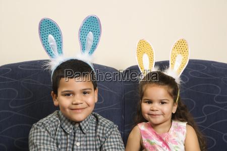 kids wearing bunny ears