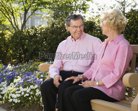 mature couple on bench